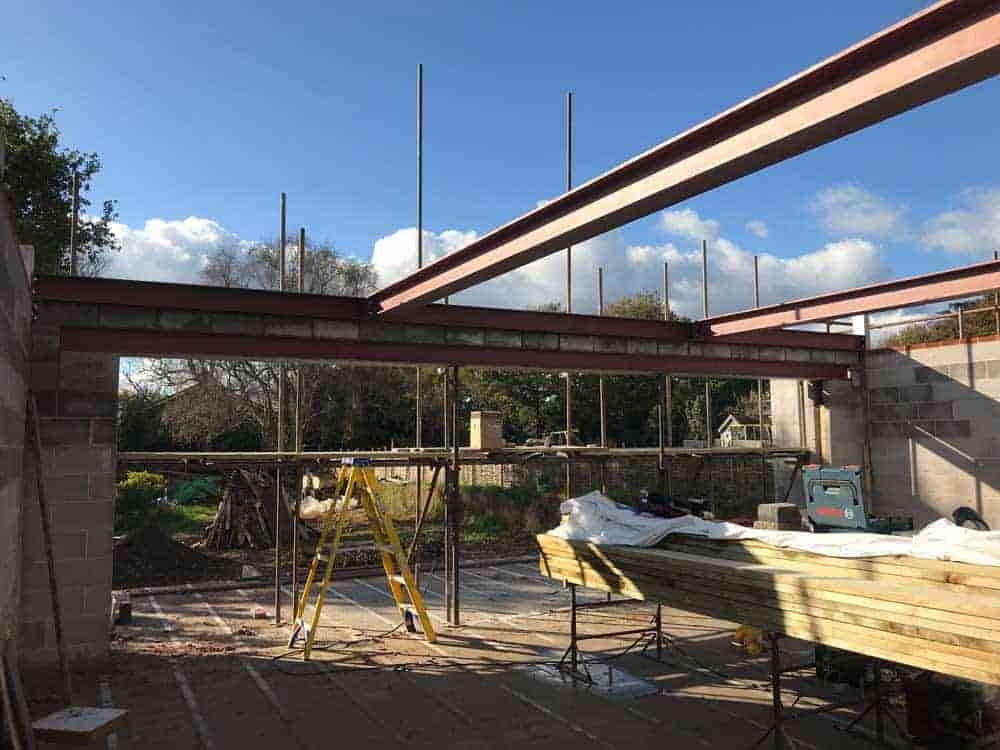 First floor steelwork for new build in East Devon